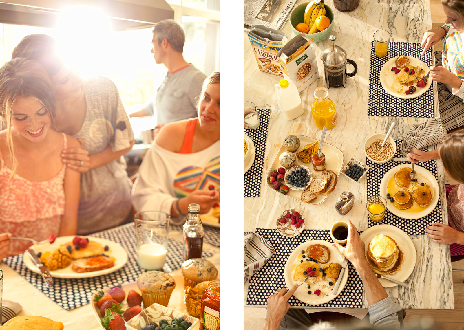 Environmental Lifestyle  shoot with caucasian family at breakfast