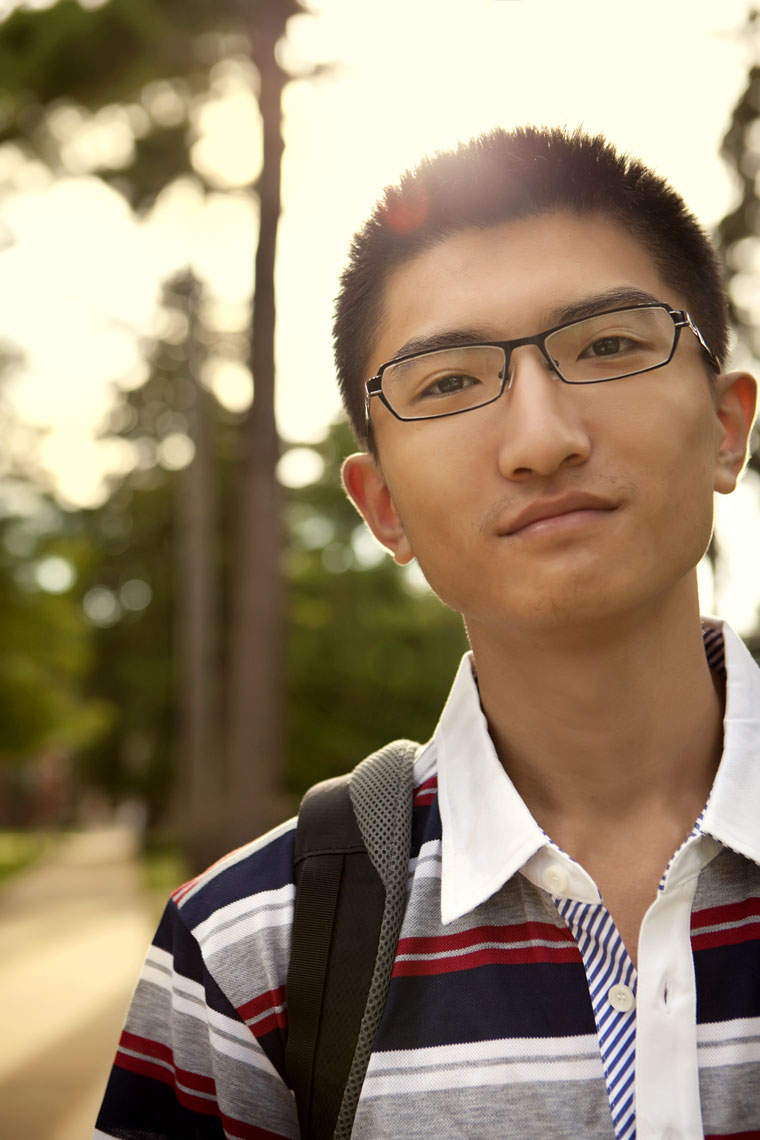 Editorial lifestyle photography of a male asian student for a university