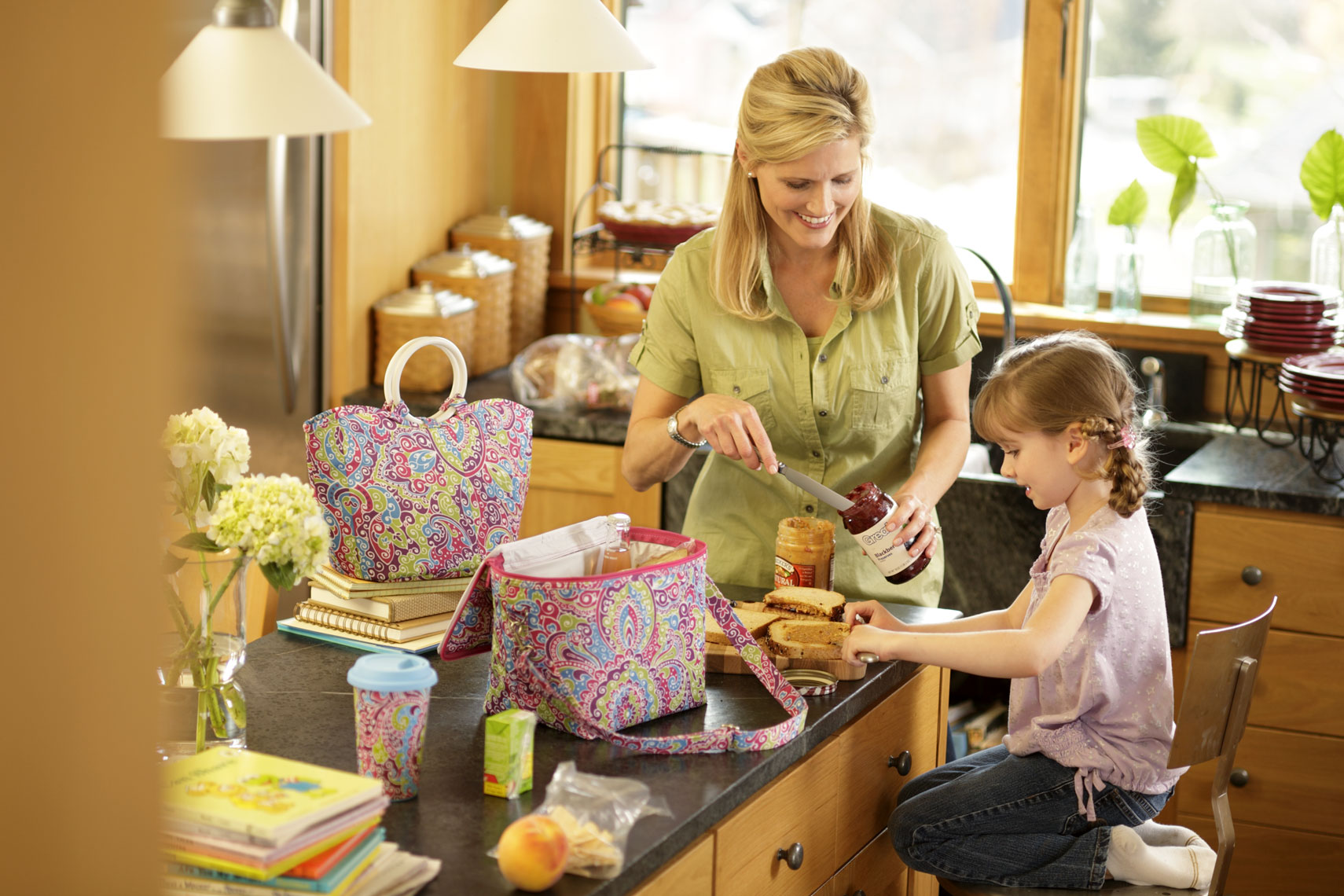 Lifestyle Product Photography With Mom And Daughter In Kitchen