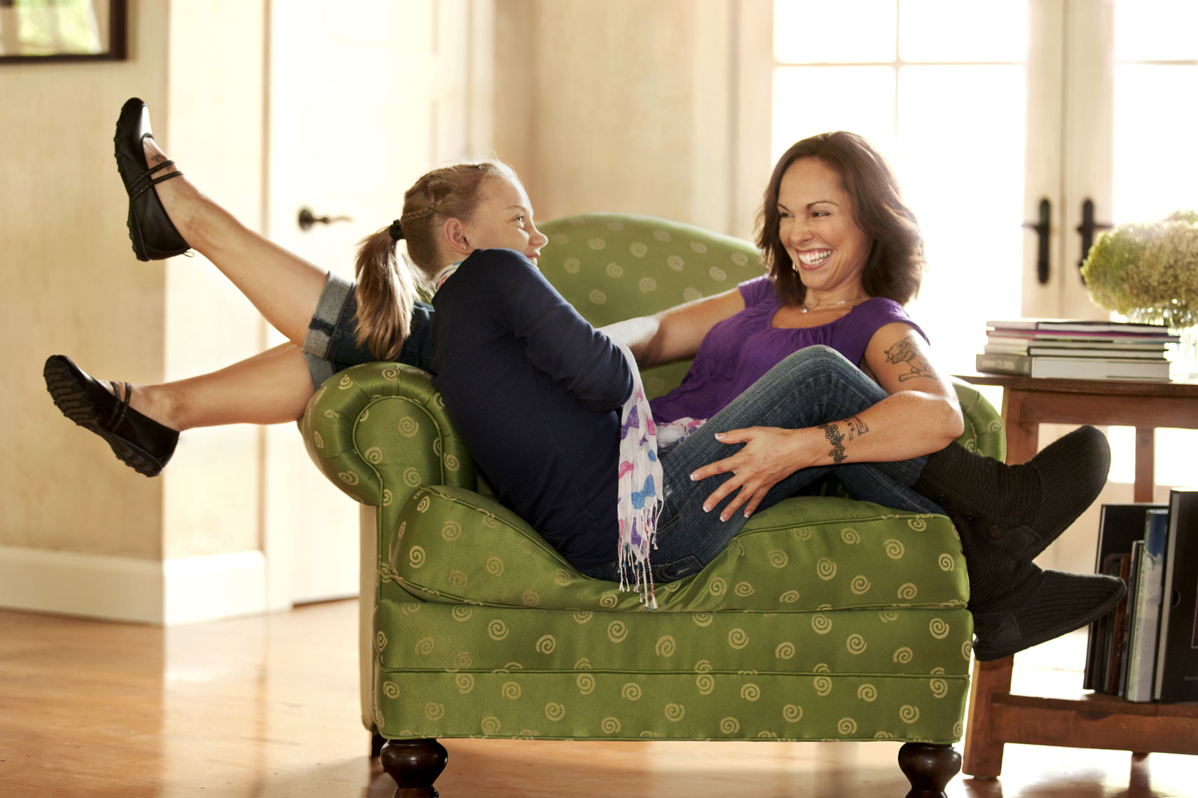 Environmental Portrait Of Mother And Daughter In Chair